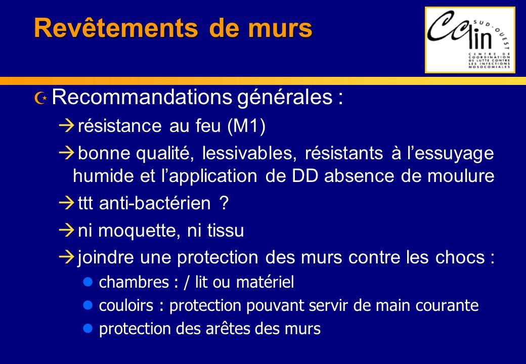 Revêtements de murs Recommandations générales : résistance au feu (M1)