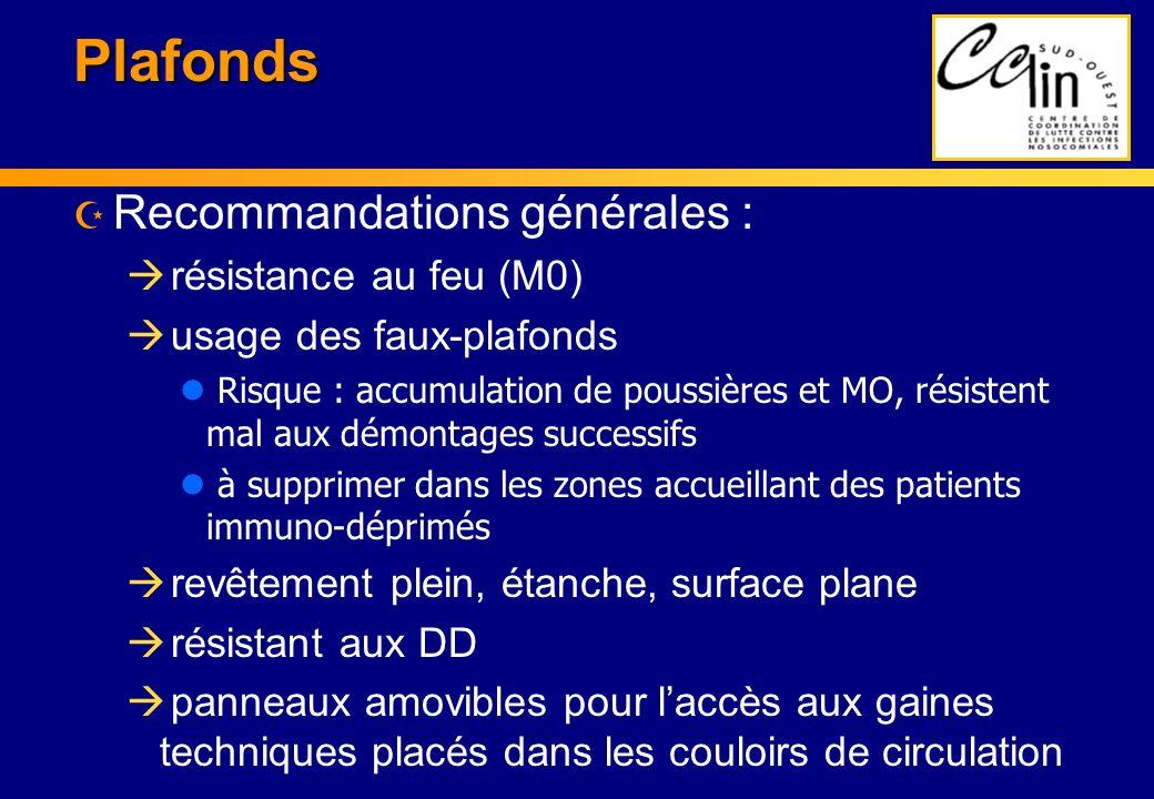 Plafonds Recommandations générales : résistance au feu (M0)