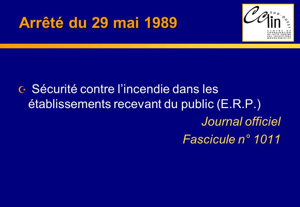 Arrêté du 29 mai 1989 Sécurité contre l'incendie dans les établissements recevant du public (E.R.P.)