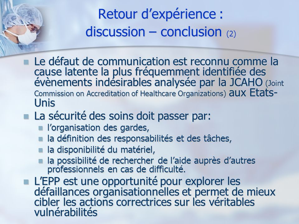 Retour d'expérience : discussion – conclusion (2)