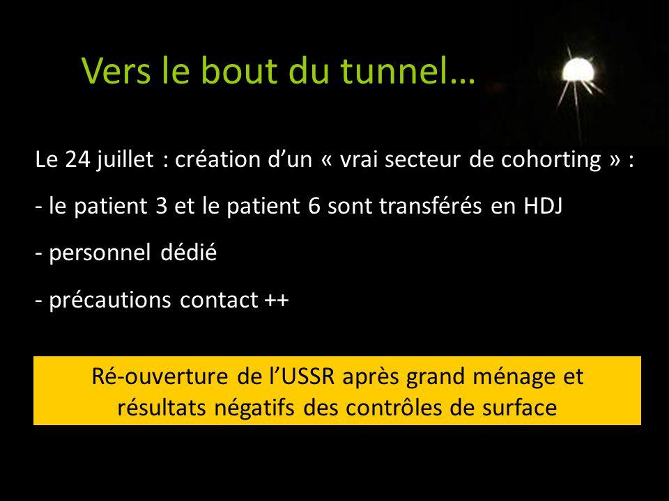 Vers le bout du tunnel… Le 24 juillet : création d'un « vrai secteur de cohorting » : le patient 3 et le patient 6 sont transférés en HDJ.