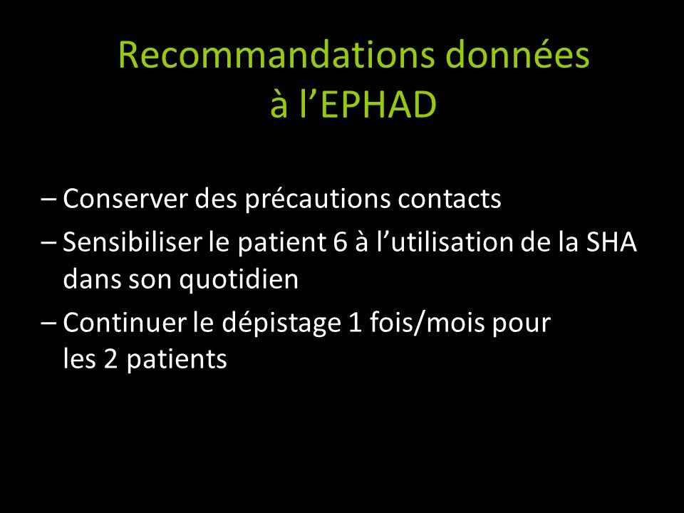 Recommandations données à l'EPHAD
