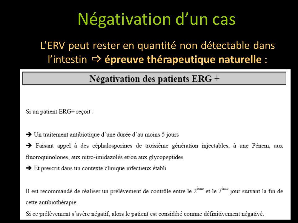 Négativation d'un cas L'ERV peut rester en quantité non détectable dans l'intestin  épreuve thérapeutique naturelle :