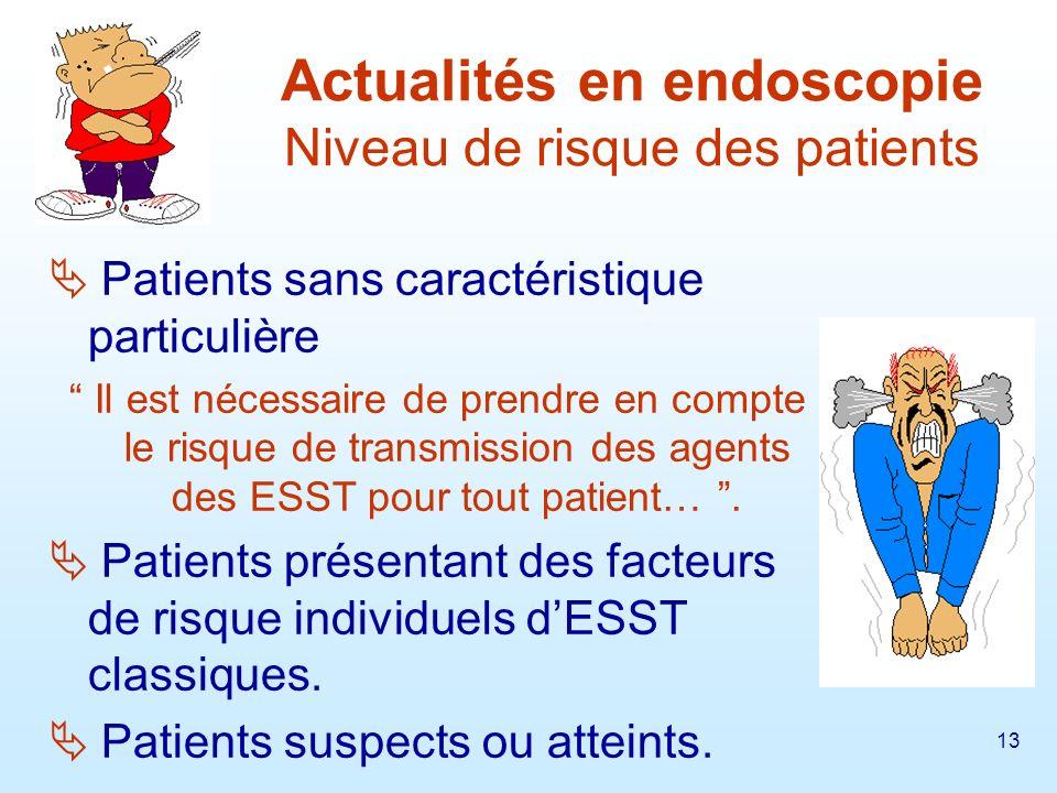 Actualités en endoscopie Niveau de risque des patients