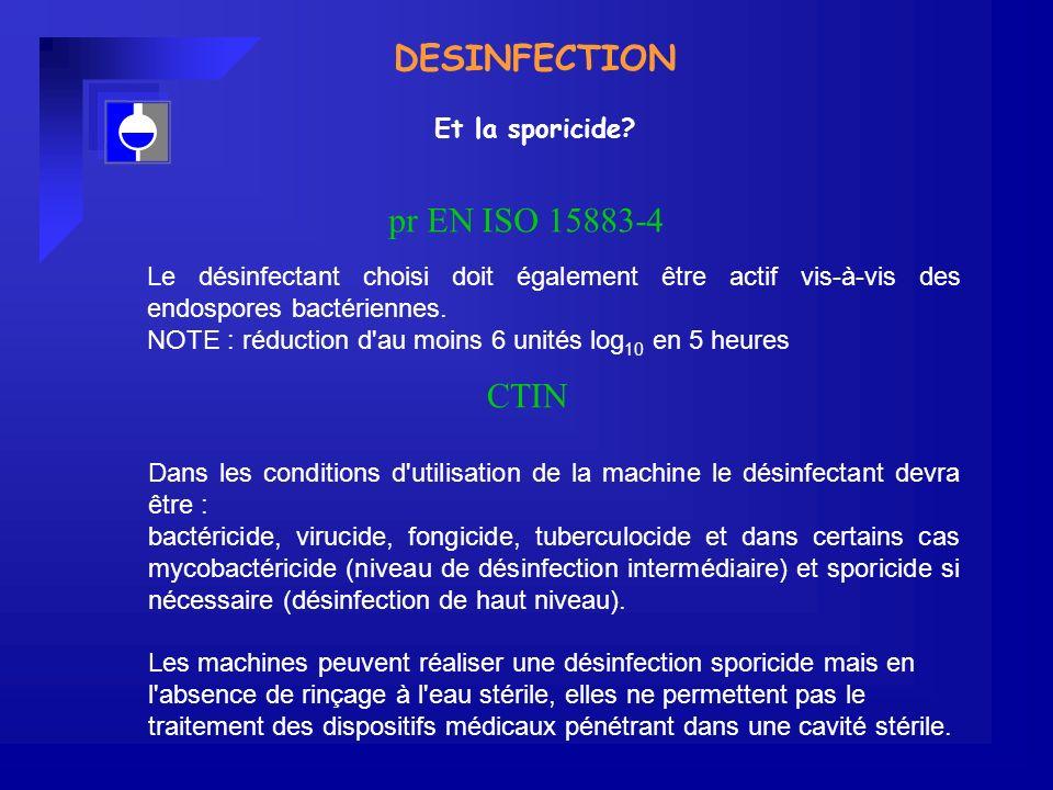 DESINFECTION pr EN ISO 15883-4 CTIN Et la sporicide