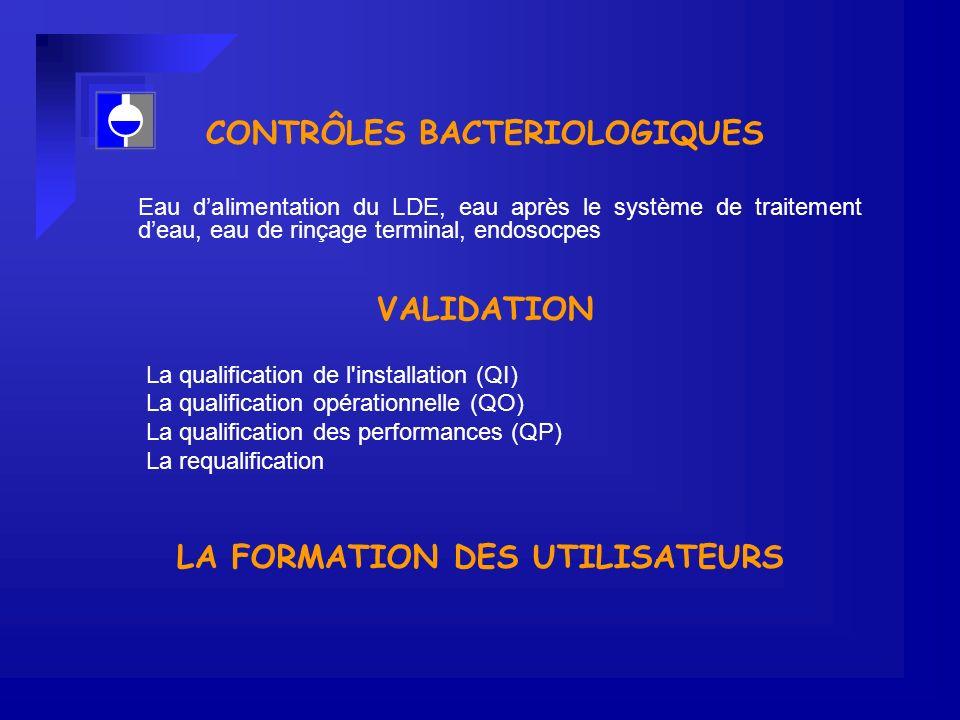 CONTRÔLES BACTERIOLOGIQUES LA FORMATION DES UTILISATEURS
