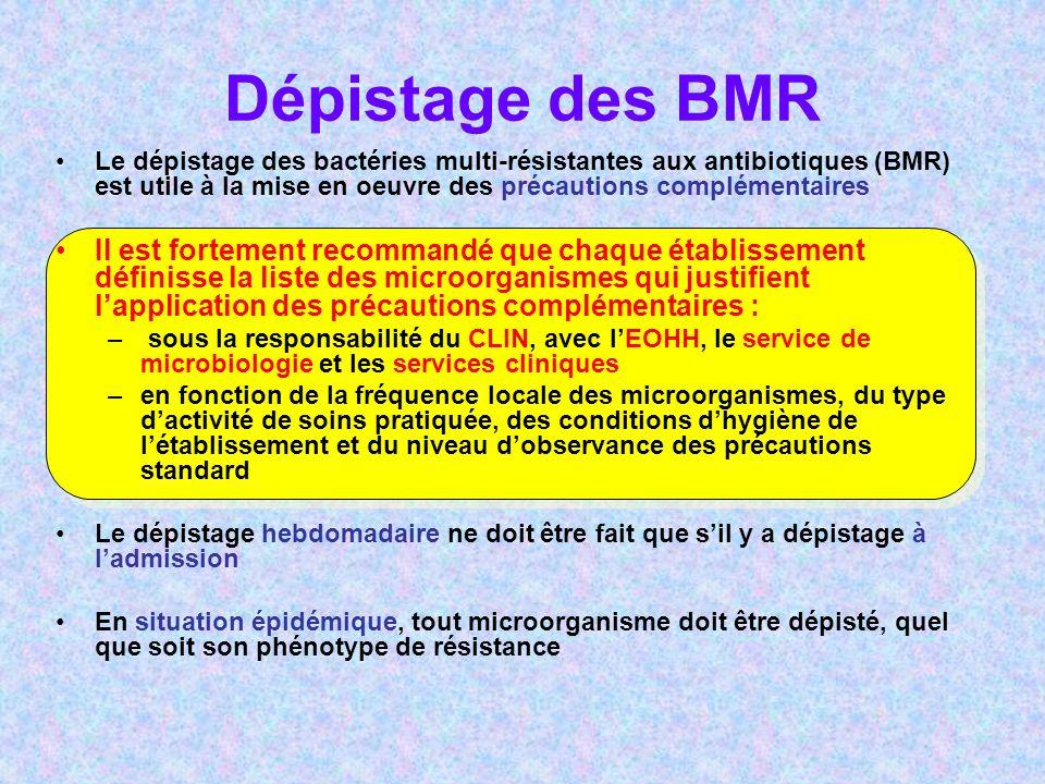 Dépistage des BMR Le dépistage des bactéries multi-résistantes aux antibiotiques (BMR) est utile à la mise en oeuvre des précautions complémentaires.