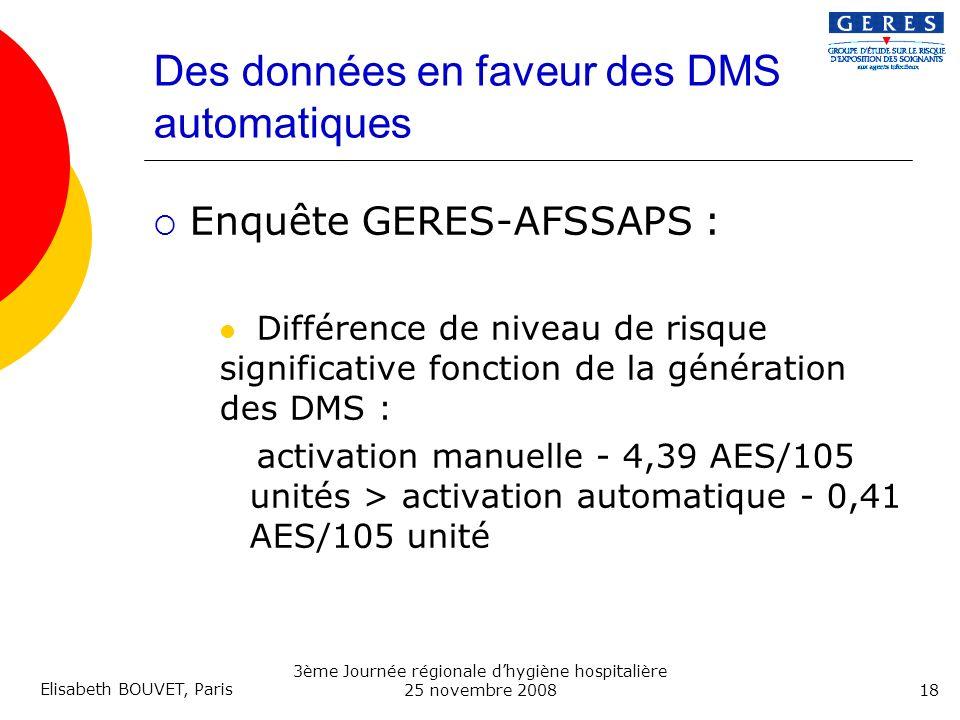 Des données en faveur des DMS automatiques
