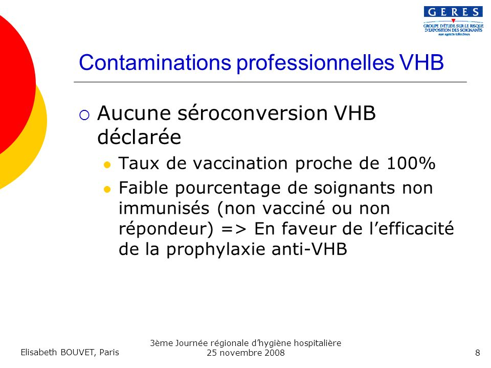 Contaminations professionnelles VHB