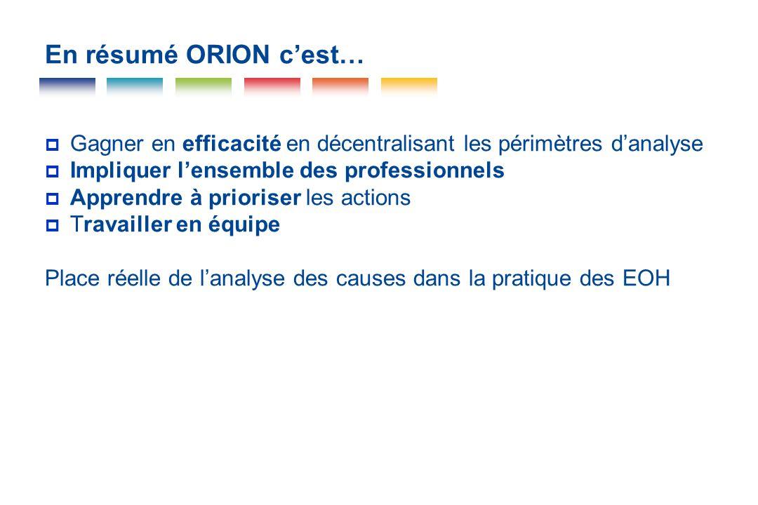 En résumé ORION c'est…Gagner en efficacité en décentralisant les périmètres d'analyse. Impliquer l'ensemble des professionnels.
