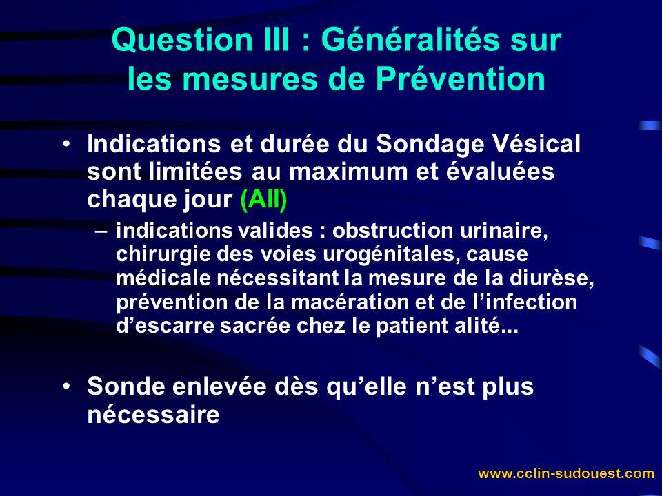 Question III : Généralités sur les mesures de Prévention