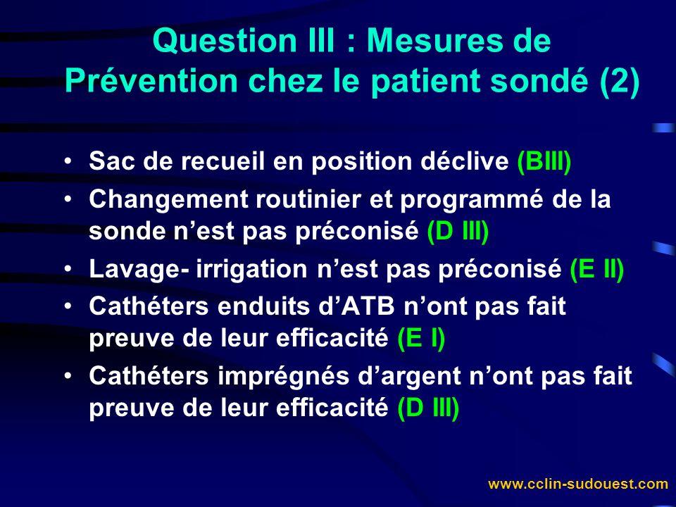 Question III : Mesures de Prévention chez le patient sondé (2)