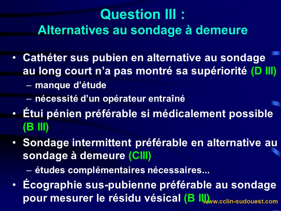 Question III : Alternatives au sondage à demeure