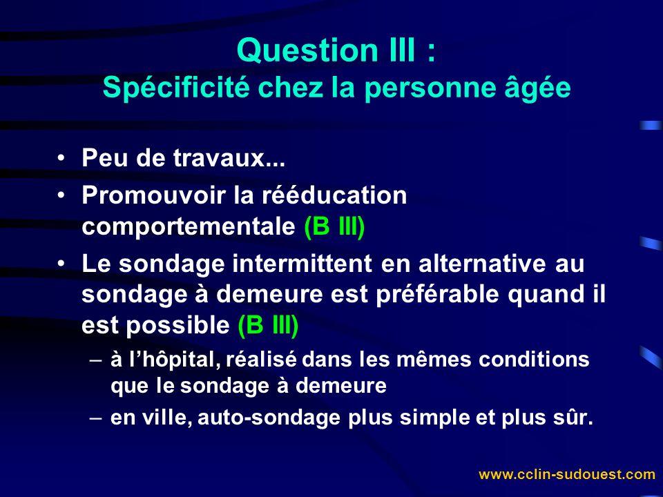 Question III : Spécificité chez la personne âgée