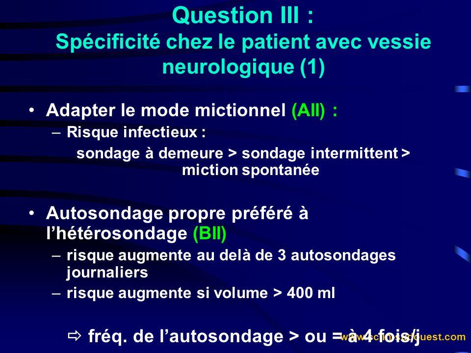 Question III : Spécificité chez le patient avec vessie neurologique (1)
