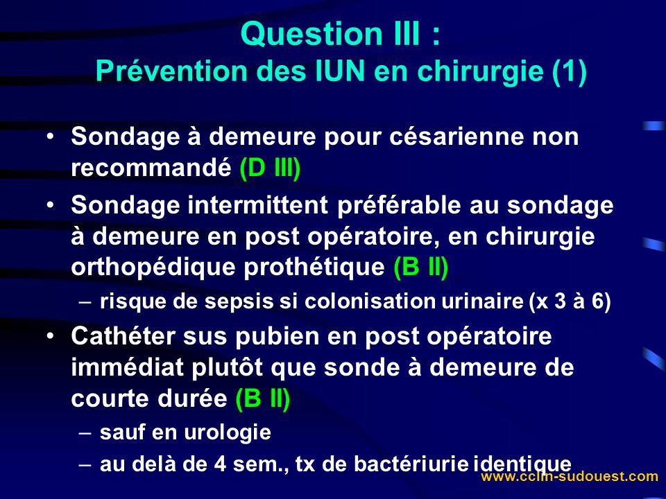 Question III : Prévention des IUN en chirurgie (1)