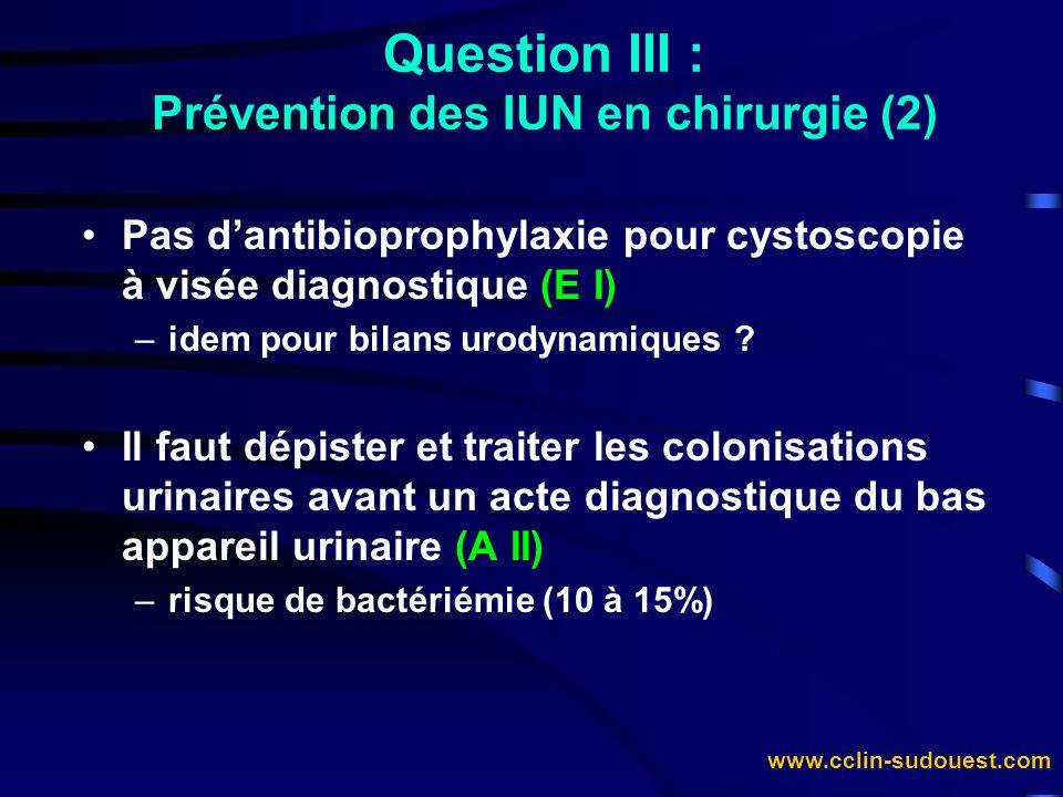 Question III : Prévention des IUN en chirurgie (2)
