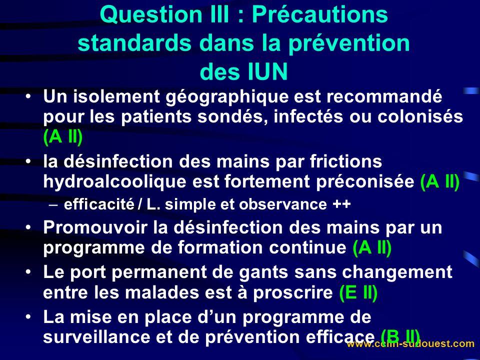 Question III : Précautions standards dans la prévention des IUN