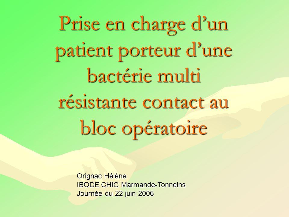 Prise en charge d'un patient porteur d'une bactérie multi résistante contact au bloc opératoire