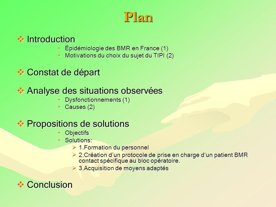 Plan Introduction Constat de départ Analyse des situations observées