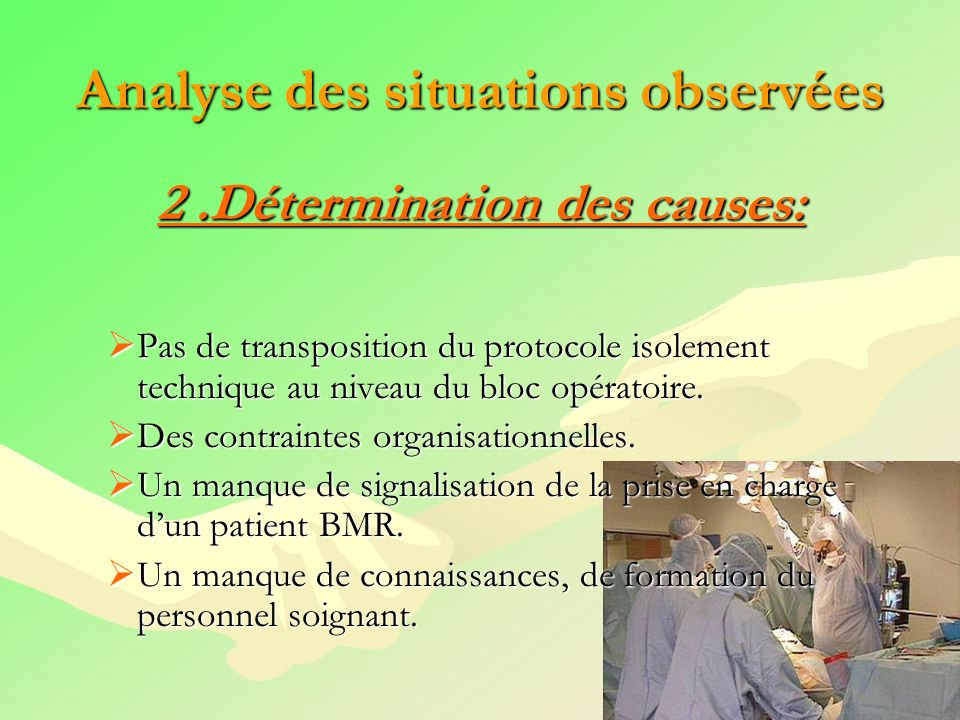 Analyse des situations observées