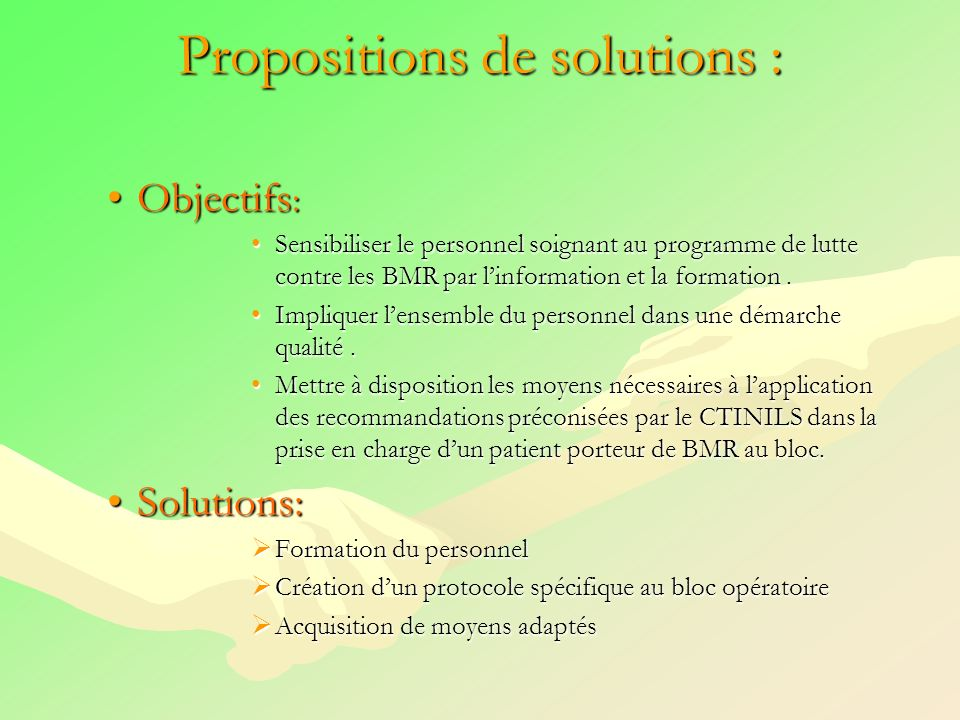 Propositions de solutions :