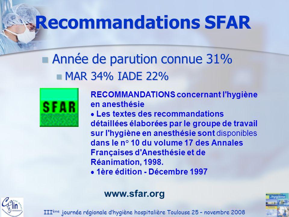 Recommandations SFAR Année de parution connue 31% MAR 34% IADE 22%