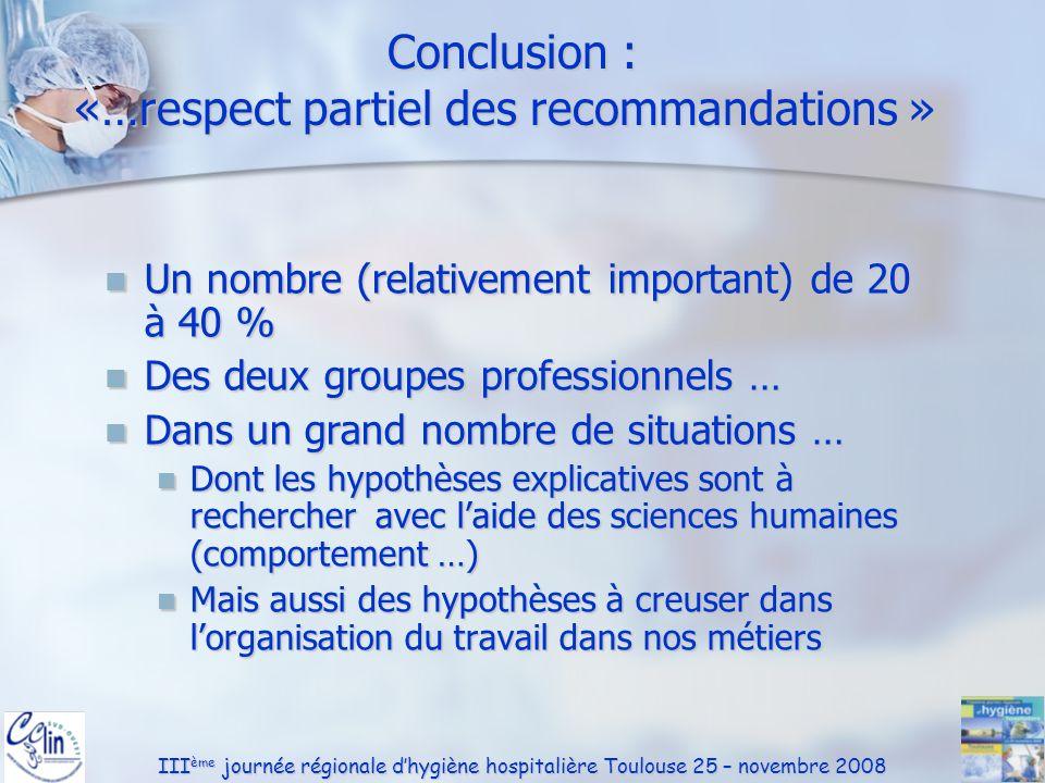 Conclusion : «…respect partiel des recommandations »