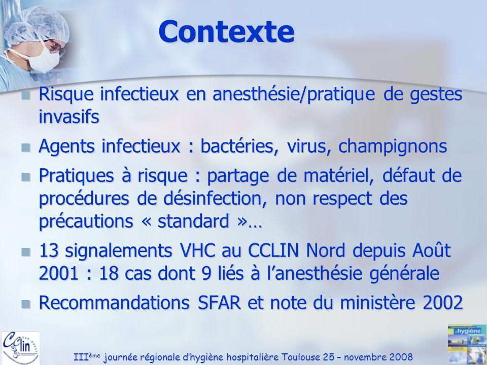Contexte Risque infectieux en anesthésie/pratique de gestes invasifs