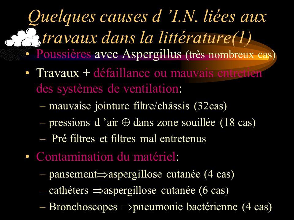 Quelques causes d 'I.N. liées aux travaux dans la littérature(1)