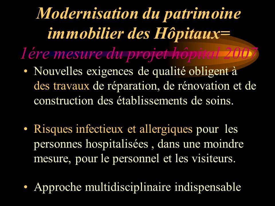 Modernisation du patrimoine immobilier des Hôpitaux= 1ére mesure du projet hôpital 2007