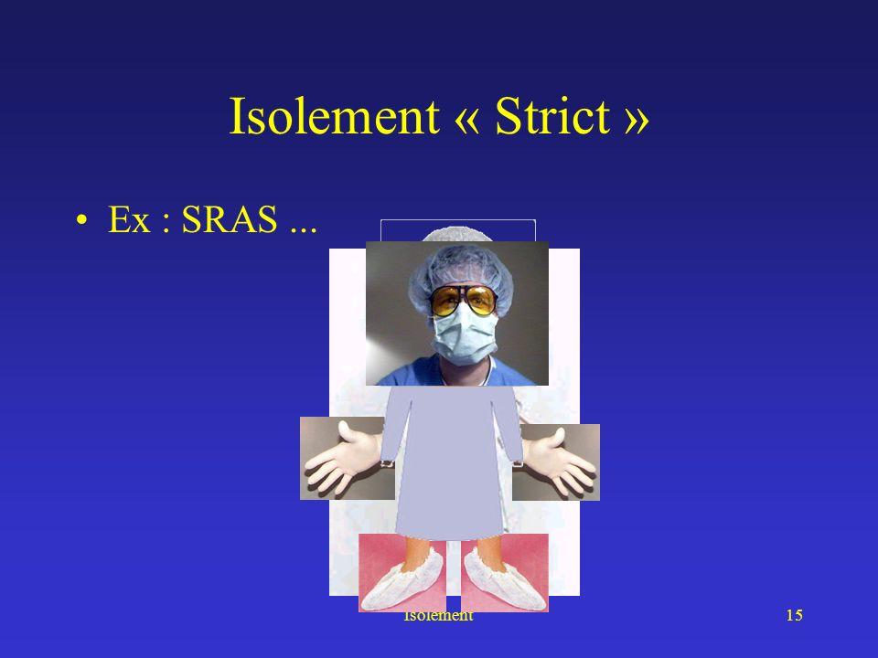 Isolement « Strict » Ex : SRAS ... Isolement