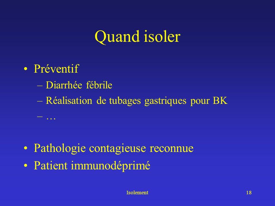 Quand isoler Préventif Pathologie contagieuse reconnue
