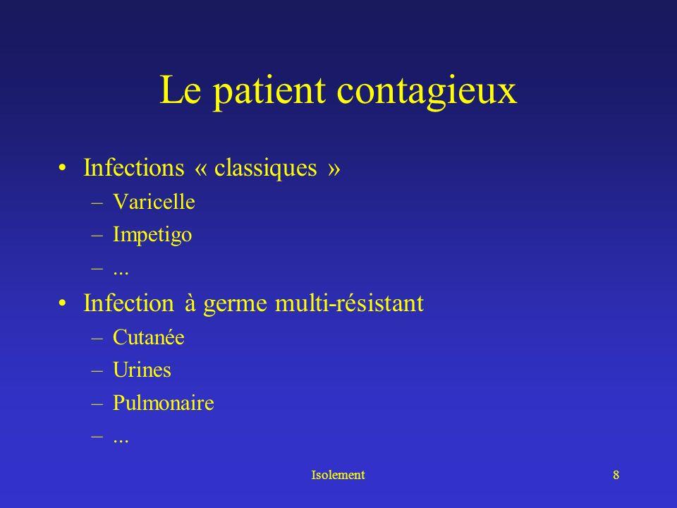 Le patient contagieux Infections « classiques »