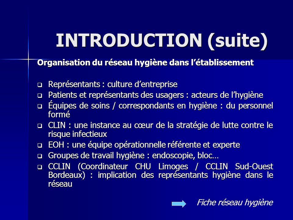 INTRODUCTION (suite) Organisation du réseau hygiène dans l'établissement. Représentants : culture d'entreprise.