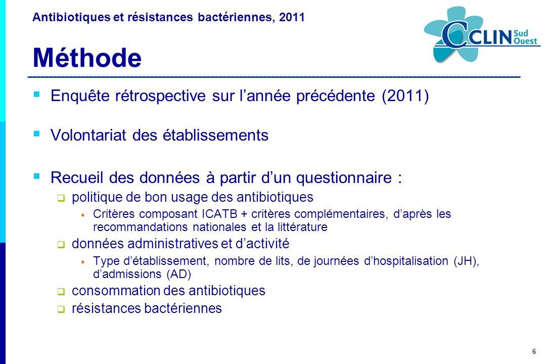 Antibiotiques et résistances bactériennes, 2011 Méthode
