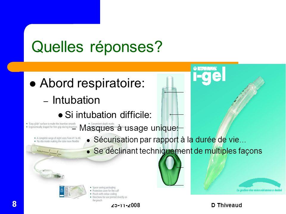 Quelles réponses Abord respiratoire: Intubation