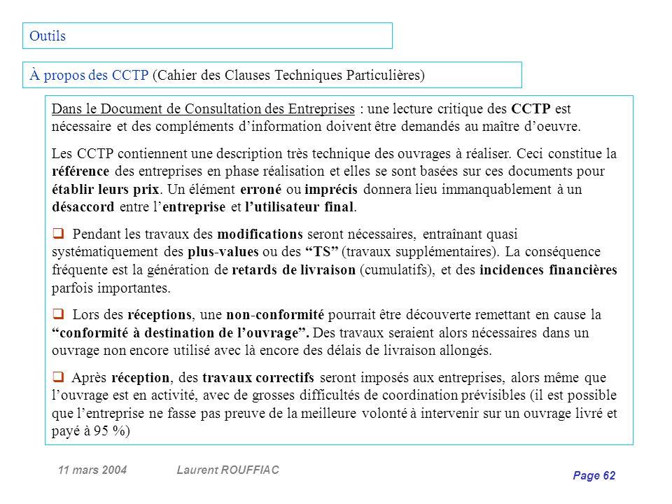 À propos des CCTP (Cahier des Clauses Techniques Particulières)