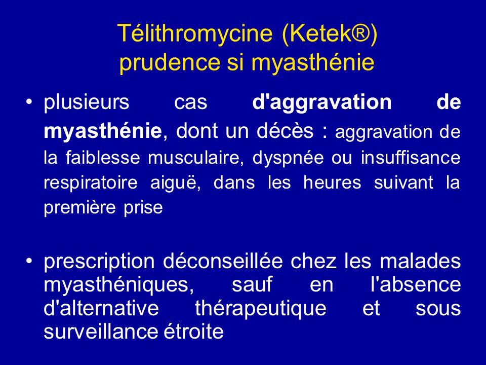 Télithromycine (Ketek®) prudence si myasthénie