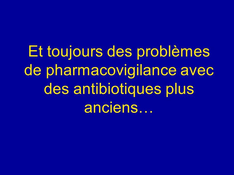 Et toujours des problèmes de pharmacovigilance avec des antibiotiques plus anciens…