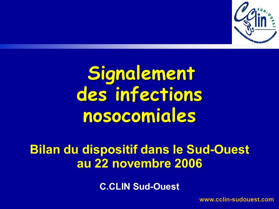 Signalement des infections nosocomiales Bilan du dispositif dans le Sud-Ouest au 22 novembre 2006 C.CLIN Sud-Ouest
