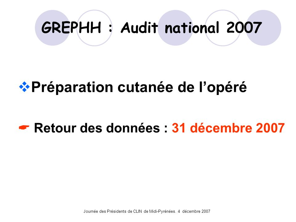 GREPHH : Audit national 2007