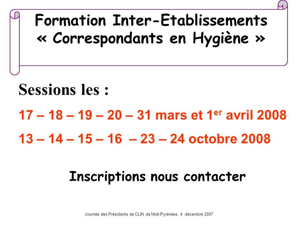 Formation Inter-Etablissements « Correspondants en Hygiène »