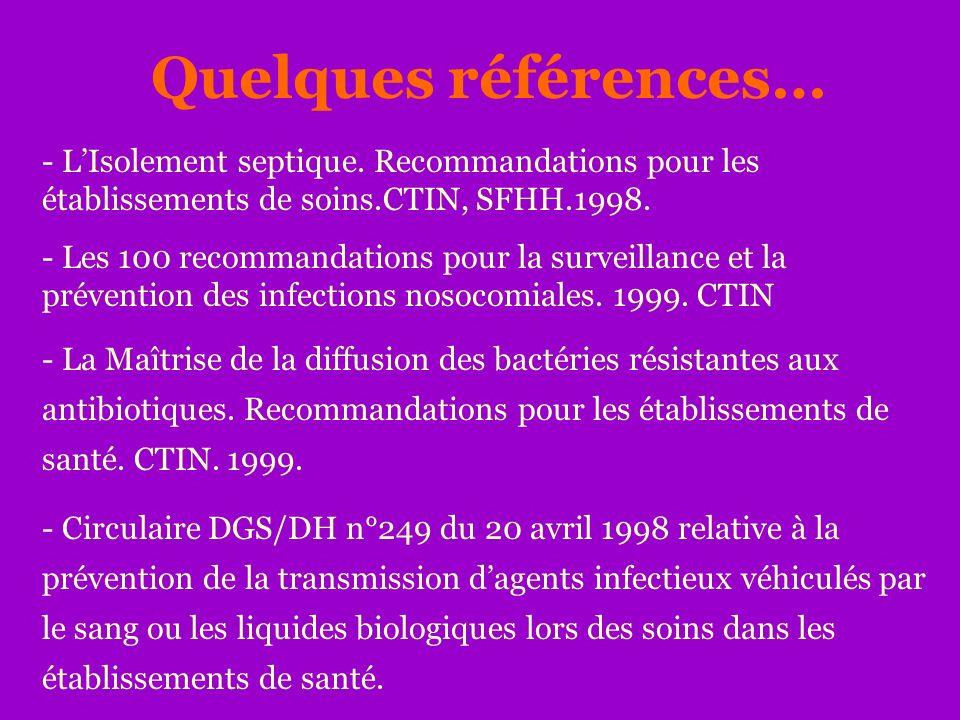 Quelques références… L'Isolement septique. Recommandations pour les établissements de soins.CTIN, SFHH.1998.