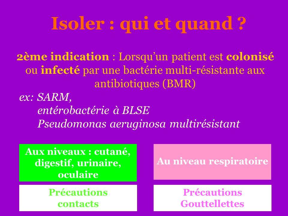 Isoler : qui et quand 2ème indication : Lorsqu'un patient est colonisé ou infecté par une bactérie multi-résistante aux antibiotiques (BMR)