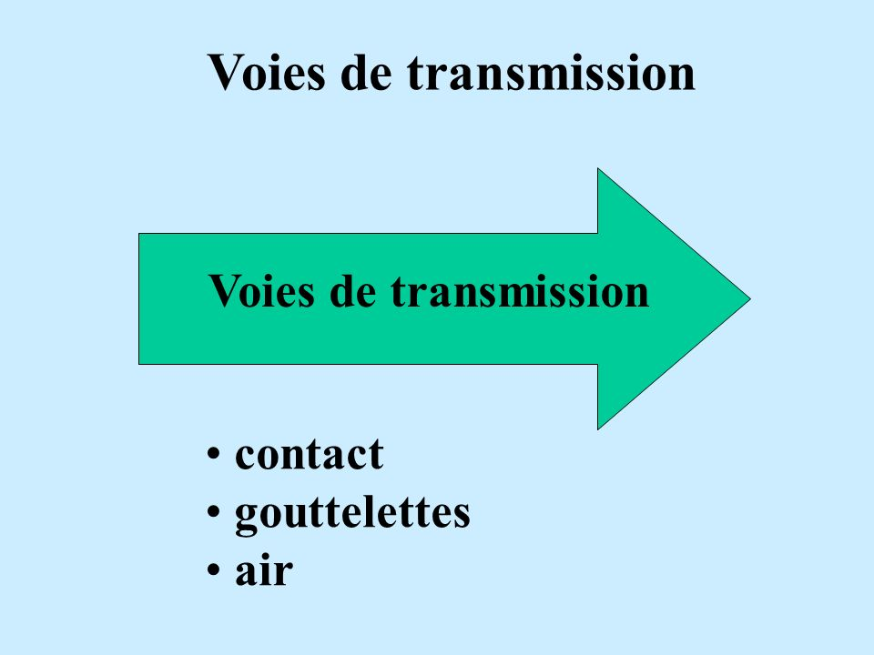 Voies de transmission Voies de transmission contact gouttelettes air
