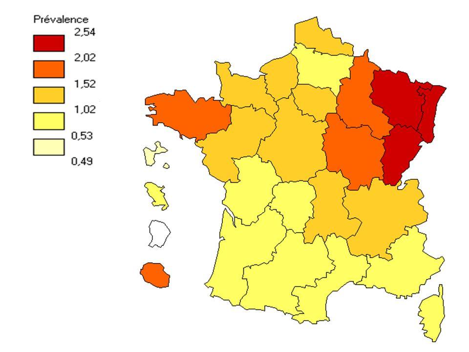 Cette carte illustre les disparités géographiques en présentant les taux de prévalence des différentes régions.