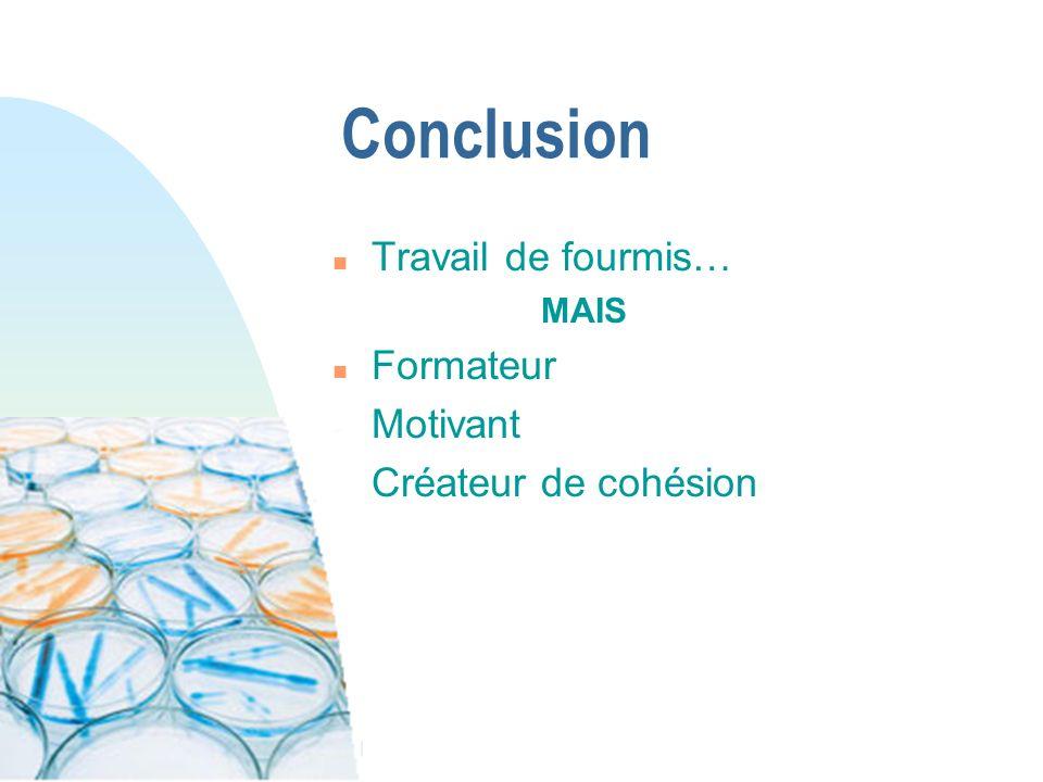 Conclusion Travail de fourmis… Formateur Motivant Créateur de cohésion