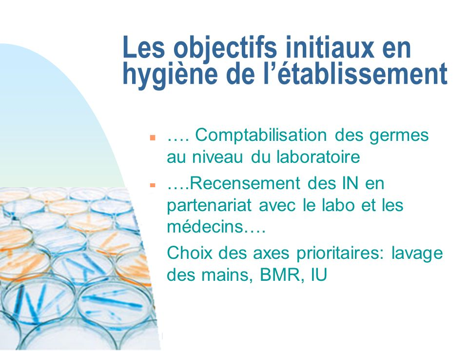Les objectifs initiaux en hygiène de l'établissement