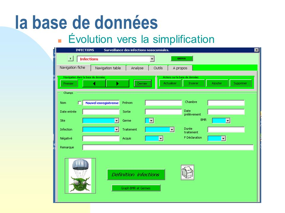 la base de données Évolution vers la simplification